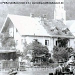 In einem Teil des Vier-Jahreszeitenhauses das gegenüber der Alten Floßlände stand (hier eine alte Ansicht, das Haus wurde abgerissen), soll auch eine Flößerfamilie gewohnt haben.