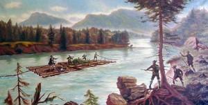 """Hier ein Gemälde mit der """"Seeschlacht"""", es hängt im Gasthof Post in Vorderriß mit vielen weiteren flößerischen Bildern und Gegenständen."""